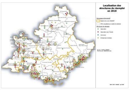 Cartographie des structures régionales ayant exercé une activité de réemploi des déchets non dangereux, pour l'année 2018